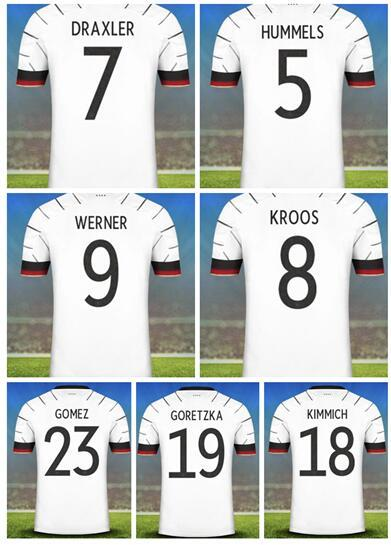 2020 Customized Home White 7 Draxler 9 Werner 13 Müller Thai Quality Soccer Jersey 8 Kroos 5 Hummels 23 Gomez 2 Süle Germany Custom wear