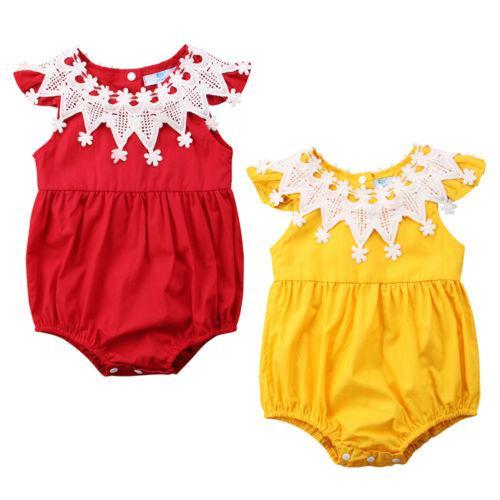 Симпатичные новорожденные кружева новорожденных девочек ползунки красный желтый рукавов O шеи комбинезон костюм наряды одежда