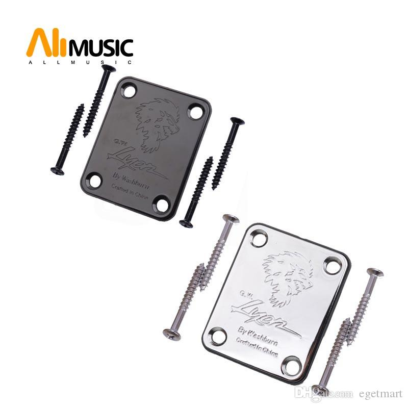 Electric Bass Guitar Neck Joint Plate with LOGO Chrome Connecting Strengthen Guitar Accessories