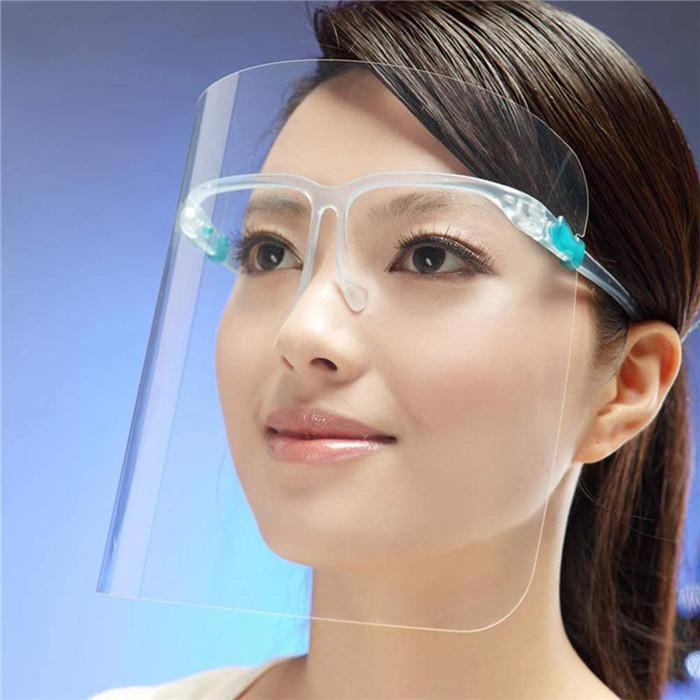 2020 Hot Stock En vente Sécurité plastique transparent Lunettes cadre transparent Couche anti-brouillard Protéger les yeux Visage Bouclier Feuille