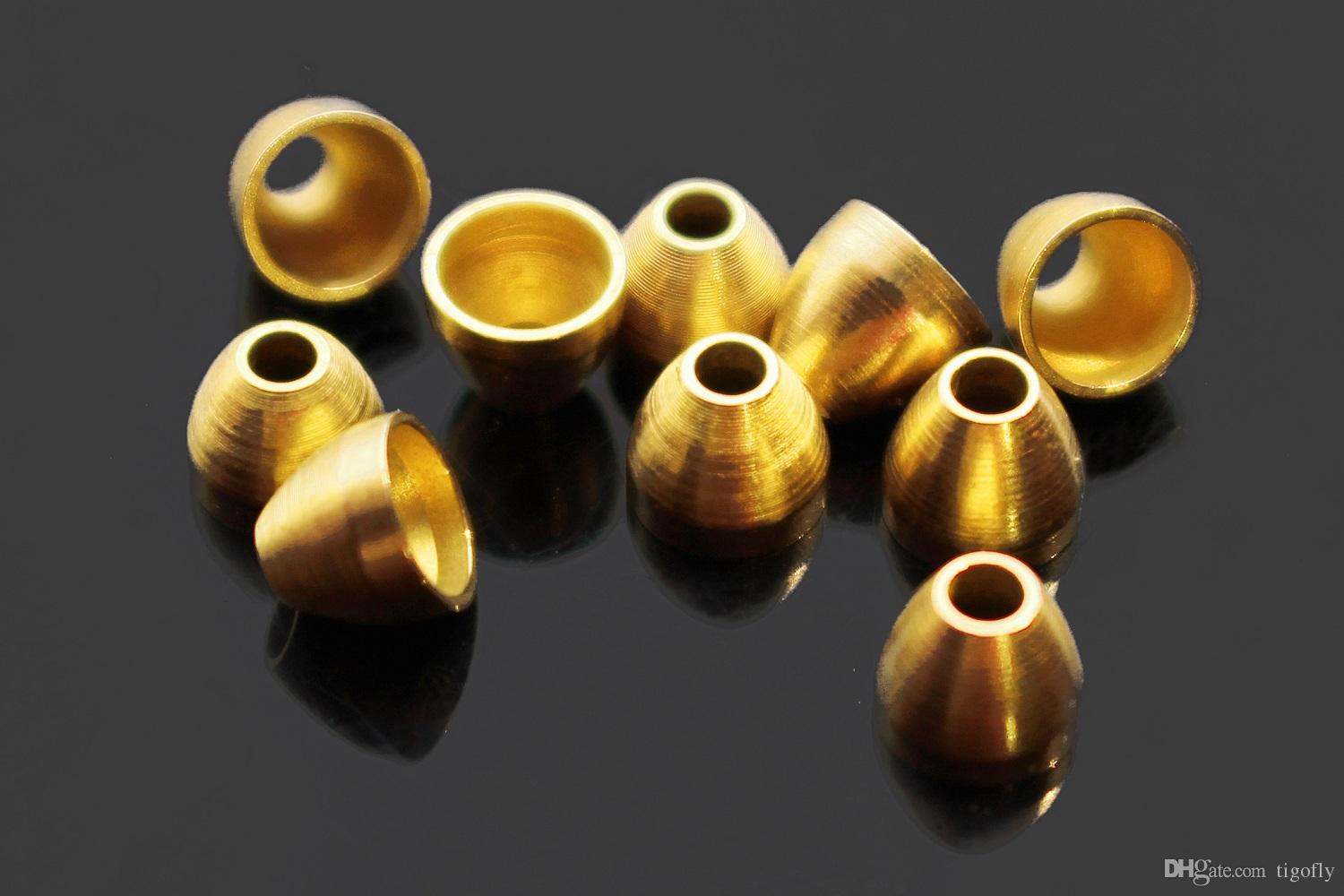 Tigofly 40 pcs/lot Copper Brass Cone Heads For Tying Tube Flies Streamers Fly Tying Beads Materials 5mmX4.1mmX1.7mm