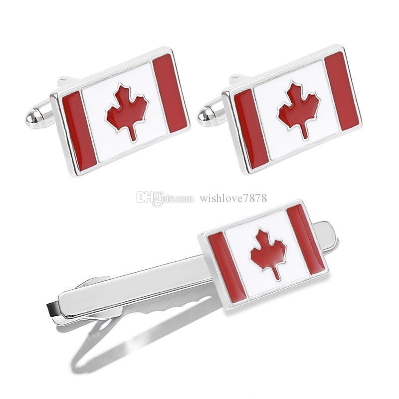 새로운 트렌디 한 캐나다 국기 커프스 패션 고급 우아한 프랑스 셔츠 커프스 링크 남성용 넥타이 클립 웨딩 파티 보석 선물