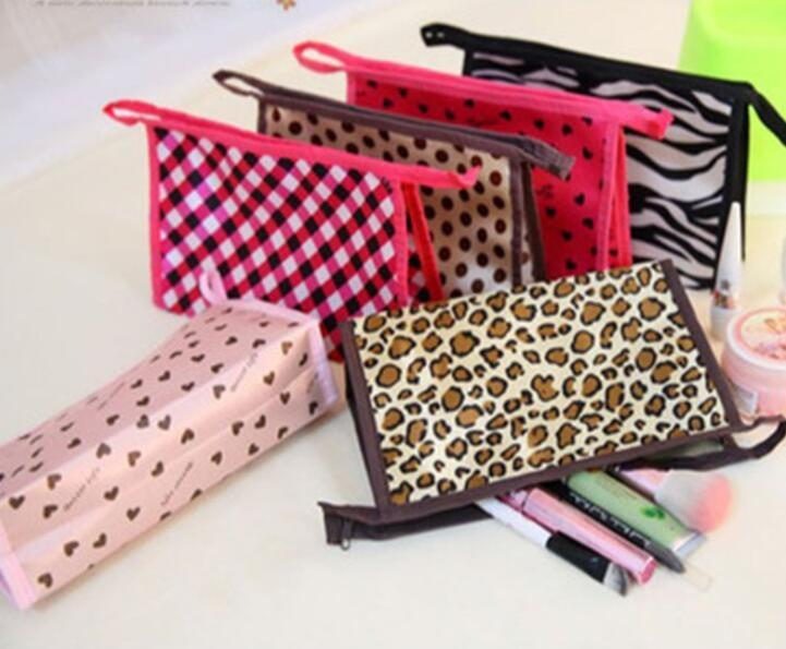 20pcs Cosmetic Bags Women Polyester Leopard Love Printing Zipper Makeup bags Ladies Travel Wash Bags Outdoor
