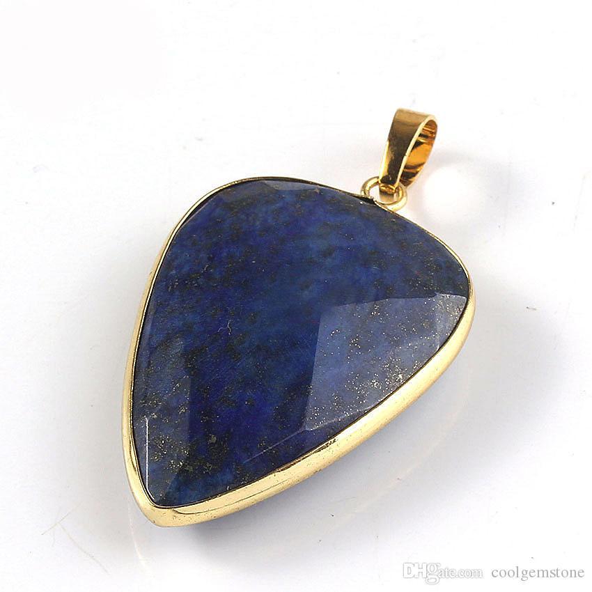 6 шт Природный кристалл Камень Драгоценный камень Подвески золото 18K Европа популярный стиль Подвеска ювелирные изделия NEW 40 * 26 мм