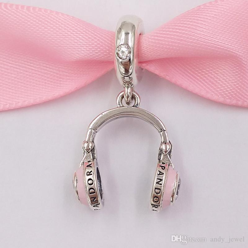 Autentico 925 perline in argento sterling 925 Le cuffie rosa ciondolo fascino charms adatti ai braccialetti di gioielli in stile Pandora europeo collana 797902In160