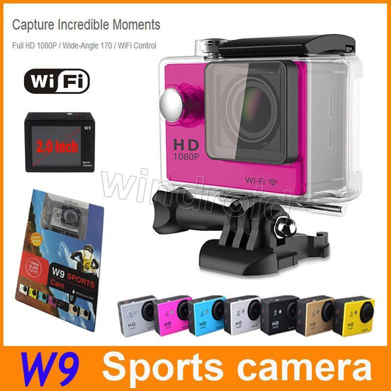 W9 Sports ação câmera HD 2 WIFI mergulho de 30 metros à prova d'água Câmaras 1080P câmeras Full HD 170 ° Camera Desporto DV Car 100 barato