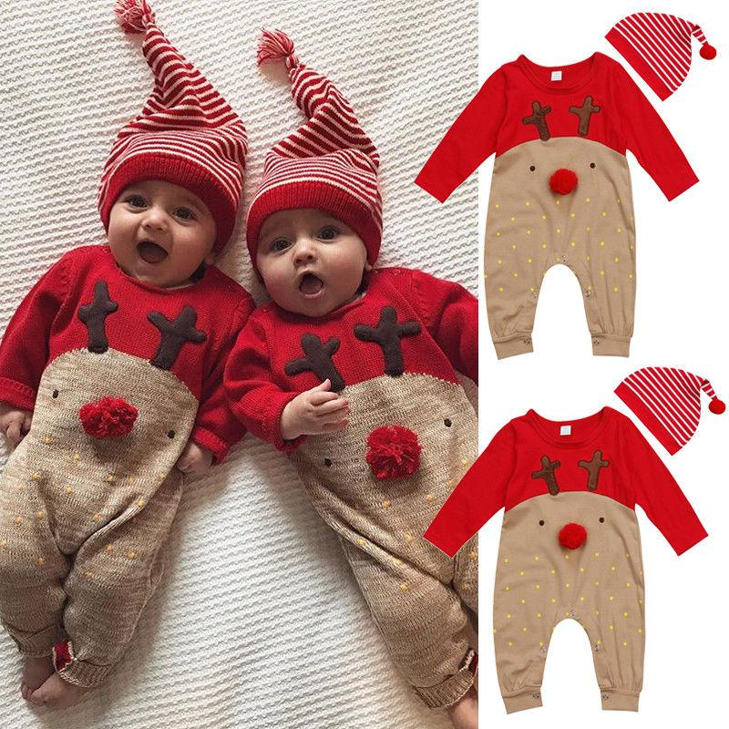 UK Newborn Baby Boy Girl Reindeer Romper Jumpsuit Casual Clothes Outfit+Hat 2PCS