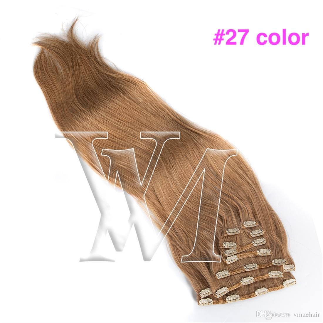 VSilky 직선 더 확장 성모 160g 여자 헤어 클립 레미 유럽 러시아어 브라질 진짜 인간의 머리 금발 흘리기 없습니다