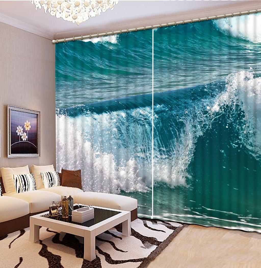 3D apagón ventana cortinas de la sala dormitorio baño río que fluye Photo Home Cortina Dormitorio decoración 3D