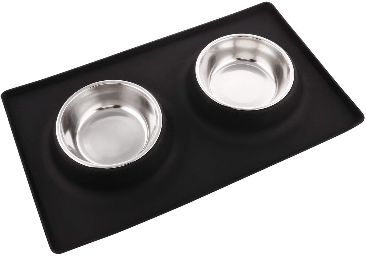 Dog Bowls, Stainless Steel Pet Food Bowl, Cat Water Bowls with No-Spill Silicone Mat for Medium or Dogs or Cats, Set of 2 Medium Bowls