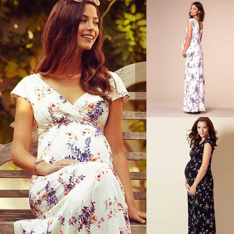 Floral de mangas curtas vestido de maternidade gravidez Vestido Sessão Fotográfica das mulheres grávidas Maternidade Mulheres Longo Femme Vestido