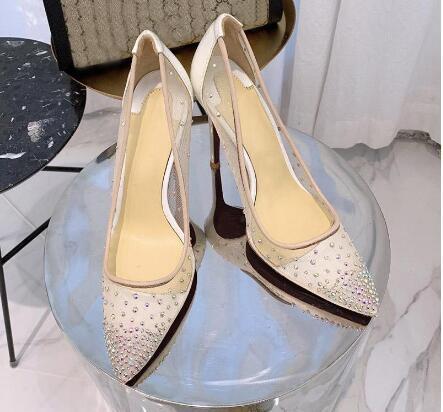 핫 Sale- 새로운 패션 섹시한 여성의 발목 스트랩을 통해 볼-관음증 발가락 크리스탈 버클 스트랩 파티 결혼식 신발 골든 에어 메쉬 펌프