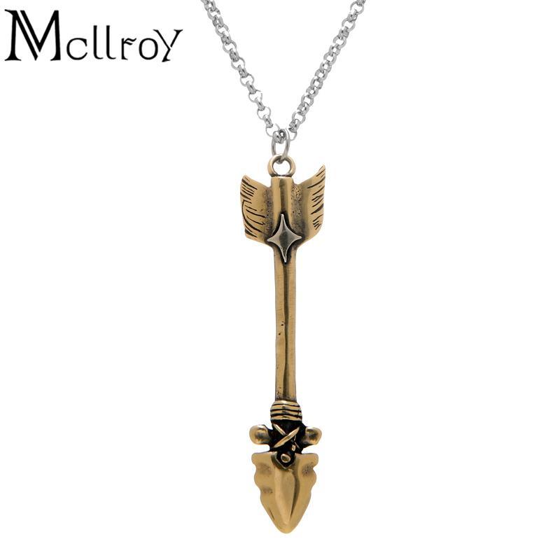 Mcllroy Copper Golden Indian Arrow For Men 2017 Fashion High 316l Titanium Steel Long Chain Men's Pendant Necklaces C19041704