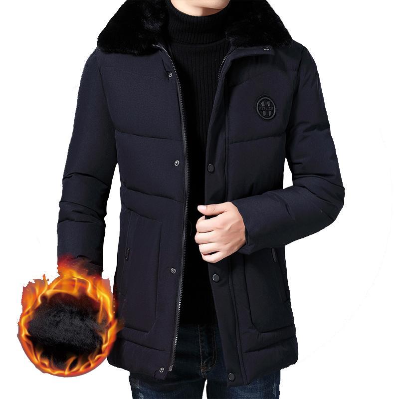 Men's Down & Parkas 2021 Winter Hooded Long Jacket Big Wool Collar Warm Overcoat