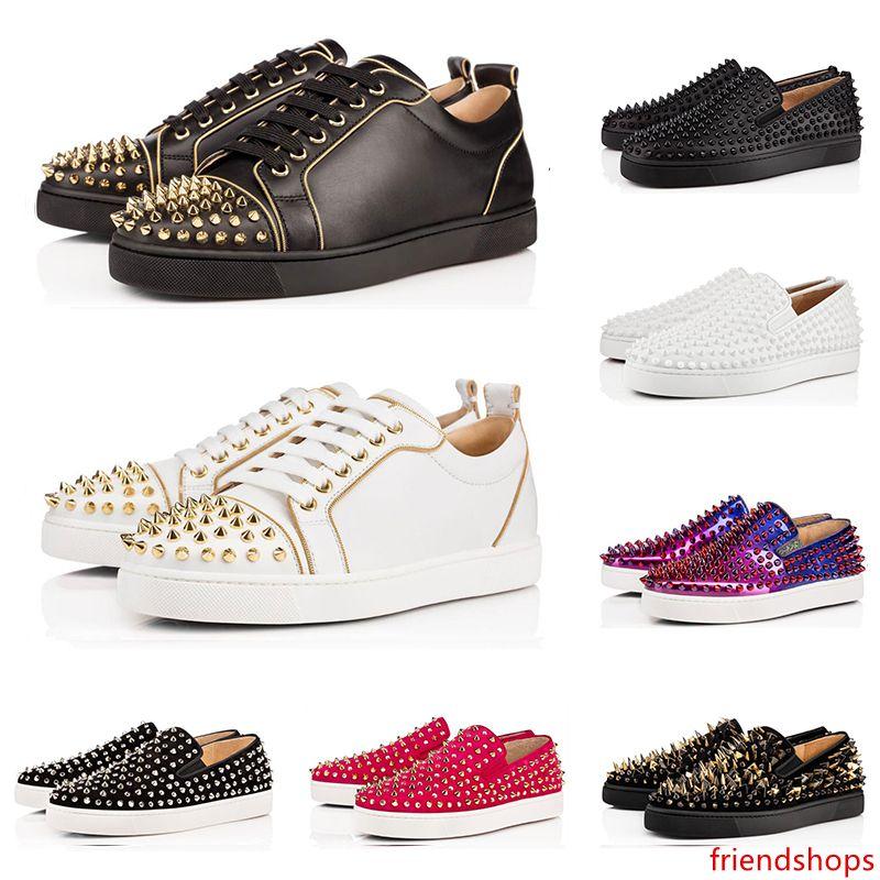 Designer de moda de luxo s sapatos Studded Spikes Apartamentos para amantes Homens Mulheres Brilhante partido ocasional preto Sneakers venda on-line