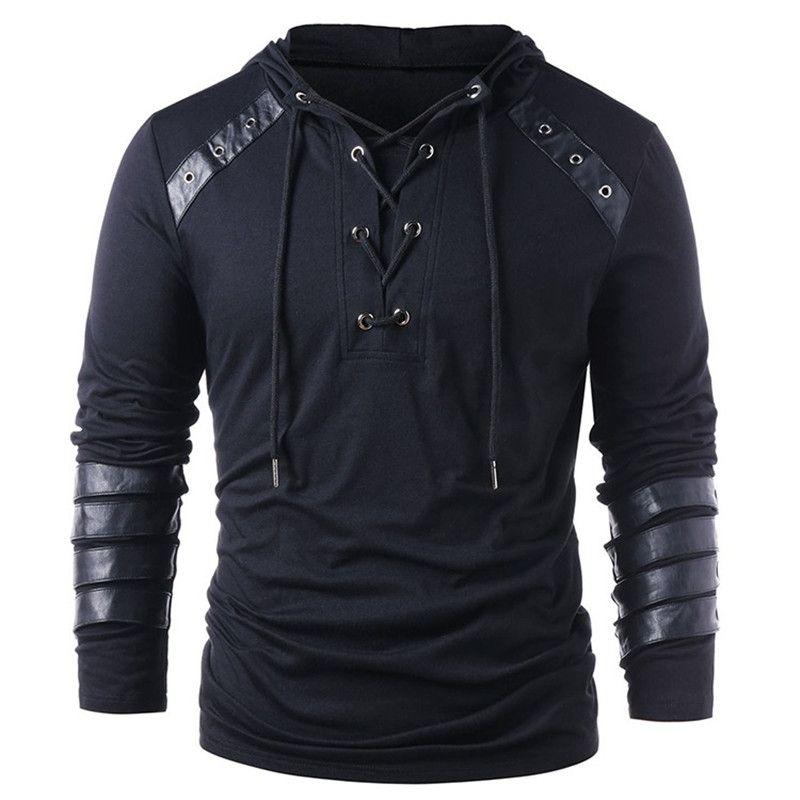 Bind Panelled Mens Designer Hoodies Art und Weise lose Solid Color PU Panelled Menshoodies-beiläufige Männer Kleidung