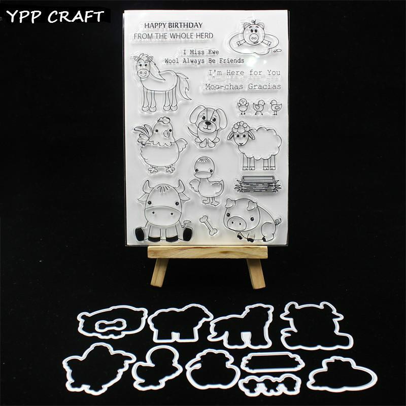 Vente en gros Animal Farm Stamp et matrices de coupe en métal pour Scrapbooking bricolage / album photo Embossage décoratif cartes de papier bricolage