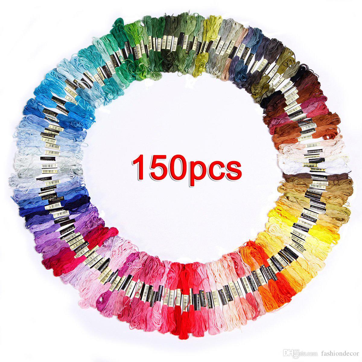 Toptan ucuz fiyat renkli Dikiş Iplikleri 150 adet / grup skeins nakış konu için çapraz dikiş ücretsiz kargo