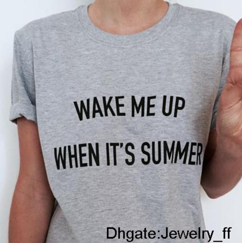 Wake Me Up When It de lettres d'été Imprimer femmes T-shirt Coton Casual Chemise drôle pour Lady Grey Top Tee Hipster vente directe