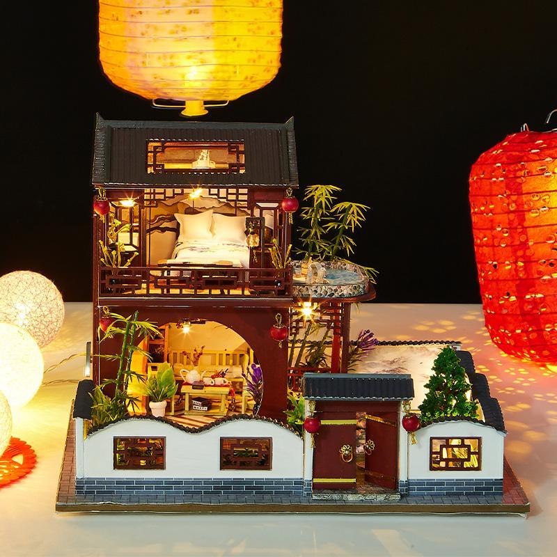 Bebek Evi Mobilya Diy Dollhouse Minyatür Puzzle Ahşap Minyatürleri Dollhouse Eğitici Oyuncaklar İçin Çocuk Hediye 3d birleştirin