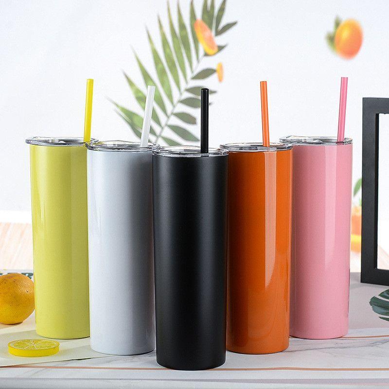 27 ألوان 20 أوقية نحيل بهلوان الفولاذ المقاوم للصدأ الزجاج فراغ معزول كأس دولبي الجدار زجاجة المياه هدايا الزفاف