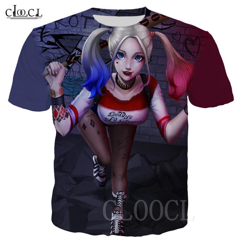 Фильм Птицы Prey Смешные футболки Мужчины Женщины Плюс Размер Футболка Harley Quinn Клоун 3D печати тенниска фуфайки Спортивная Tee Tops