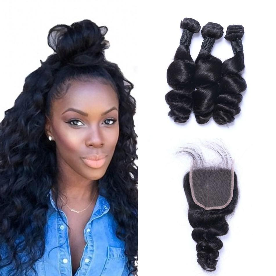 Brazilian Human Hair Weaves Loose Wave with Closure 4x4 Free Part Lace Closure with 3 Bundles
