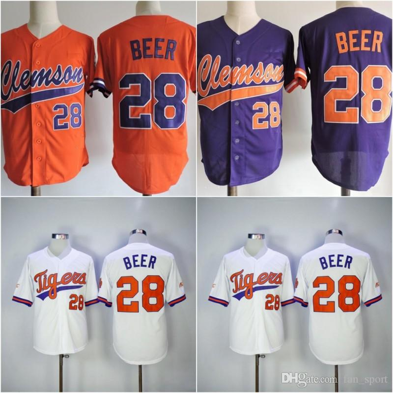 2017 NCAA Clemson Tigers baseball Jersey 28 Seth cerveja da faculdade Jerseys Legal Base de JERSEY Cinza Branco costurado Seth cerveja camiseta