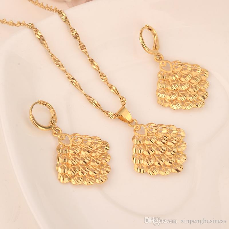 18 k amarelo ouro maciço cheio de dois pcs conjunto lanternas estilo coreano pingente brinco conjunto bling pendurado oscilante pendente brinco