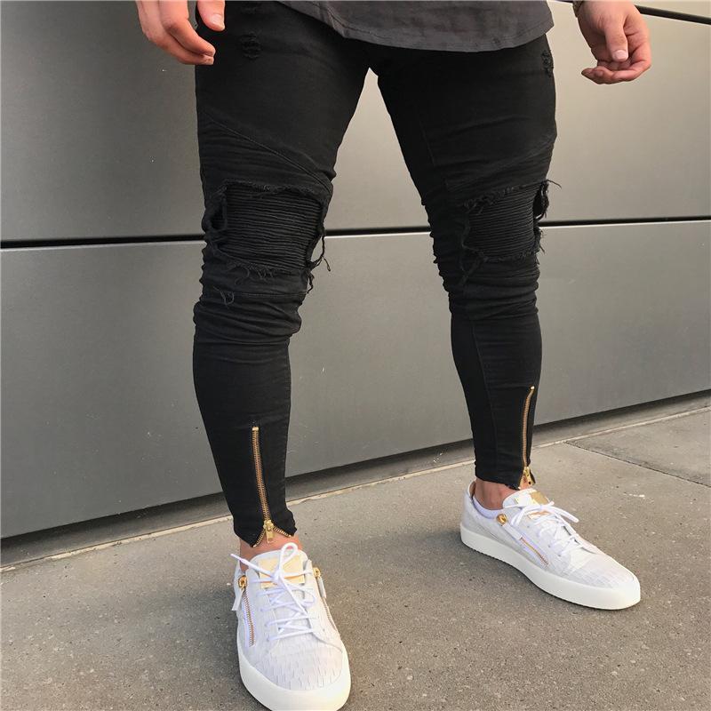 Calça Jeans Masculina High Street Personalidade Dobrar Joelho Calças de Pé Zíper Pequeno Pé dos homens Calças Calças dos homens