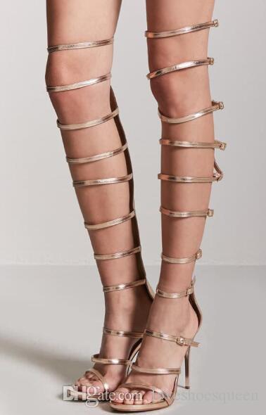 Tacones de gladiador metálicos 2019 zapatos de fiesta para mujer sandalias de gladiador sexy botines de verano tacón fino zapatos de hebilla de oro tacones altos