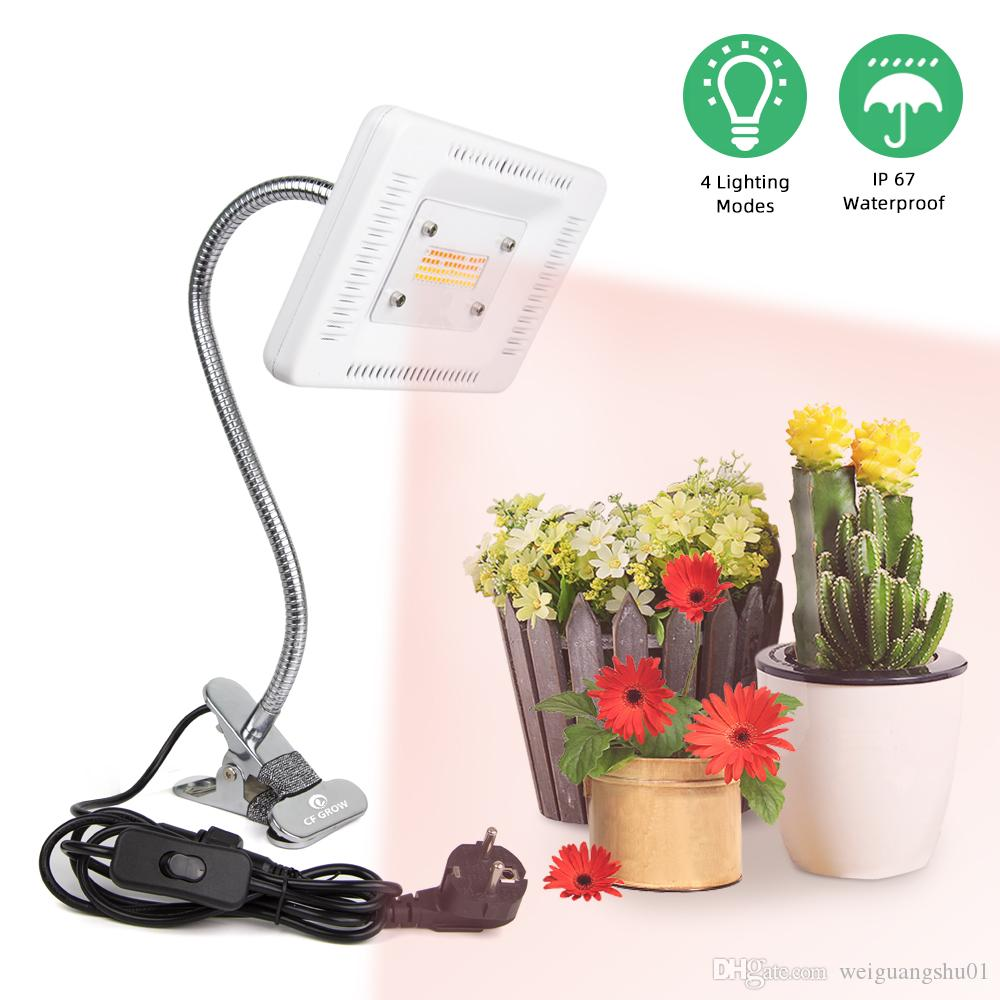 LED Desk Clip Grow Light Full Spectrum 4 Modes 50W 56LEDs Waterproof LED Grow Lamp For Indoor Plants Flowers Greenhouses Tent