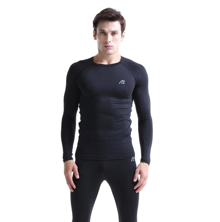 2016 solid black hunting base layer t shirts for man mens functional breathable outdoor keep warm compression undershirts