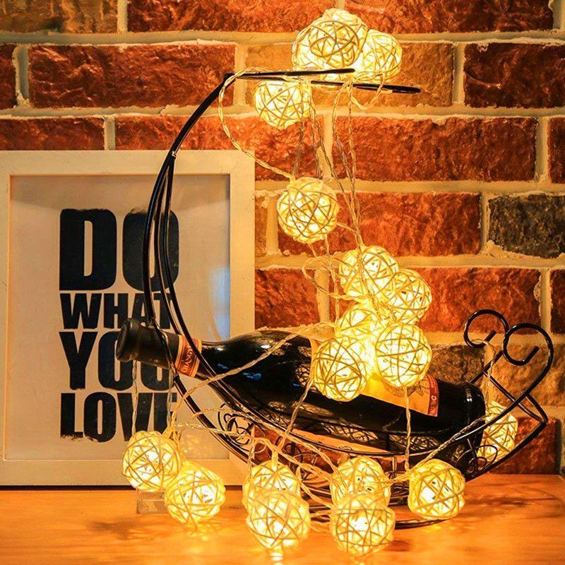 Globe Rattan Ball String Lights Goodia 13.8feet 40 LED Warm White Fairy Lighting for Indoor Bedroom Wedding Holiday Christmas Tree Party
