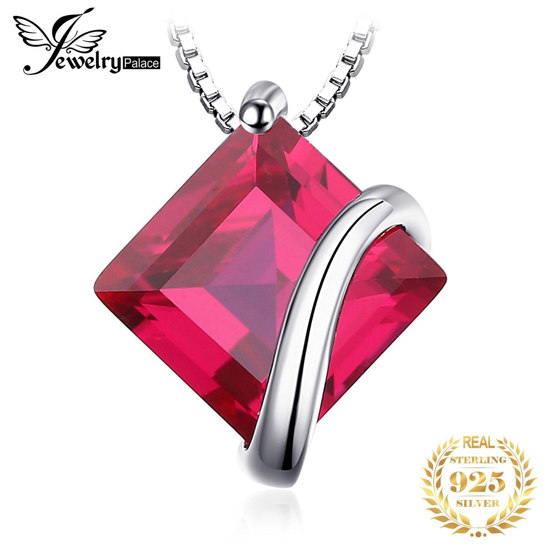 JewelryPalace Criado Declaração rubi vermelho colar de pingente prata esterlina 925 Gemas Gargantilha Colar Mulheres sem corrente