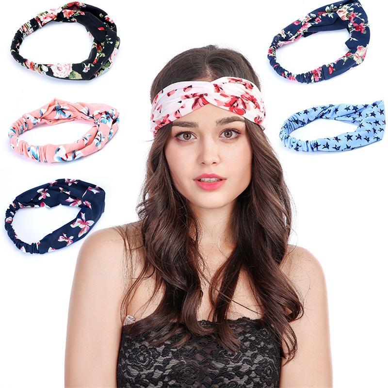 DHL Shipping Boho Headbands for Women Vintage Flower Printed Crossed Elastic Hairband Chiffon Hoop Hair Accessories for Fashion Sport B97F