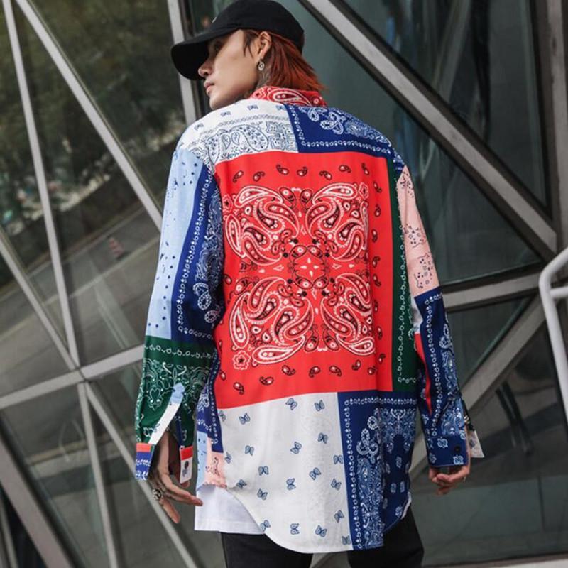 2019 봄 여름 꽃 인쇄 남성 대형 셔츠 불규칙 헴 디자인 빈티지 남자 긴 셔츠 펑크 힙합 streetwear