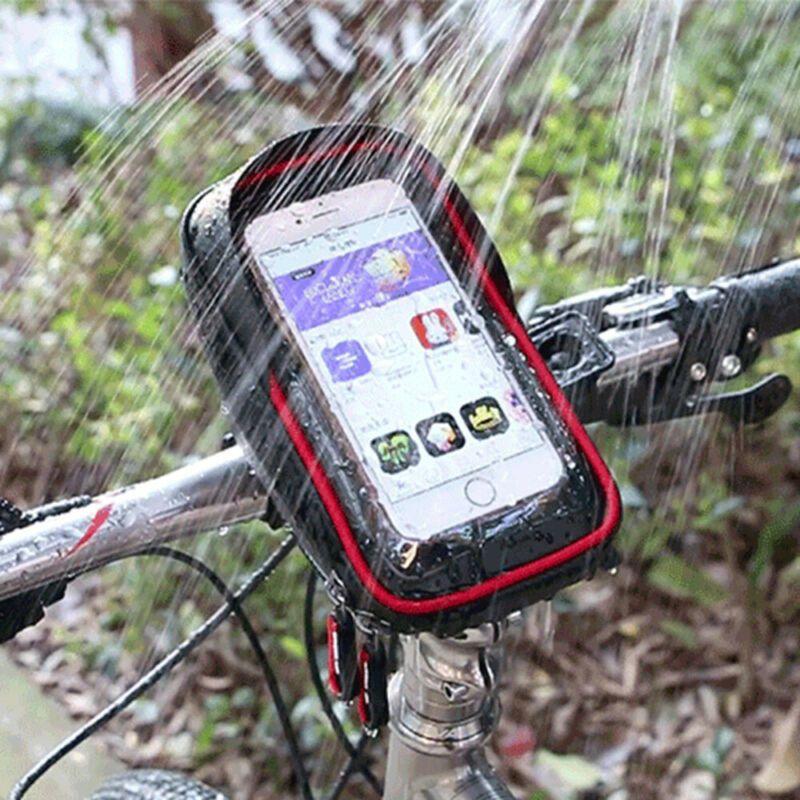 Ciclismo Bicicleta Cabeça do tubo guiador de telefone celular móvel saco caso titular caso Pannier Waterproof Touchscreen Polyester Saco