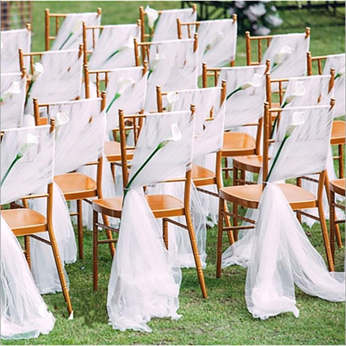 Chair Back Yarn Sashes Swiss Yarn For Perfect Simple But Elegan Outdoor Wedding Decorations Party Supplies Banquet Chair Back 216m Chair Sash