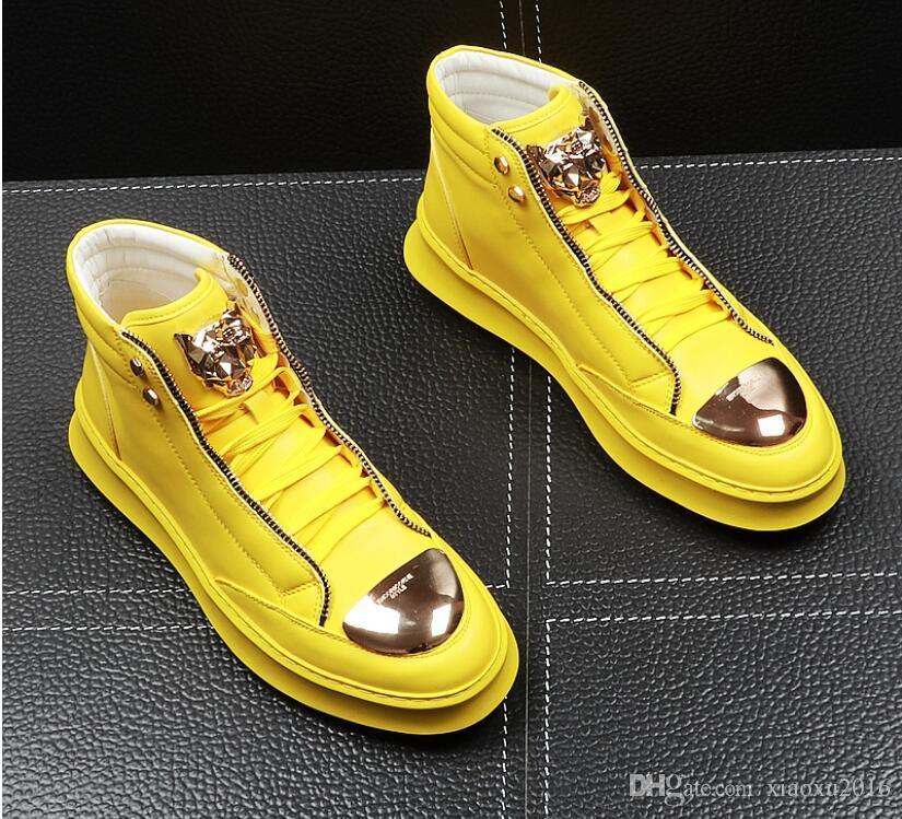 Herren Designer-Schuhe Reißverschluss Punk Hip-Hop-Loafers beiläufige Ebene Schuhe Männliche Kleid Hochzeit Abendplattformschuhe lf176