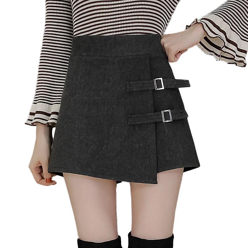 Y200512 femme 2020 de talle alto de lana botón pantalones cortos mujeres otoño invierno falda pantalón corto Mujeres de Talla botas asimétrico mini pantalones cortos