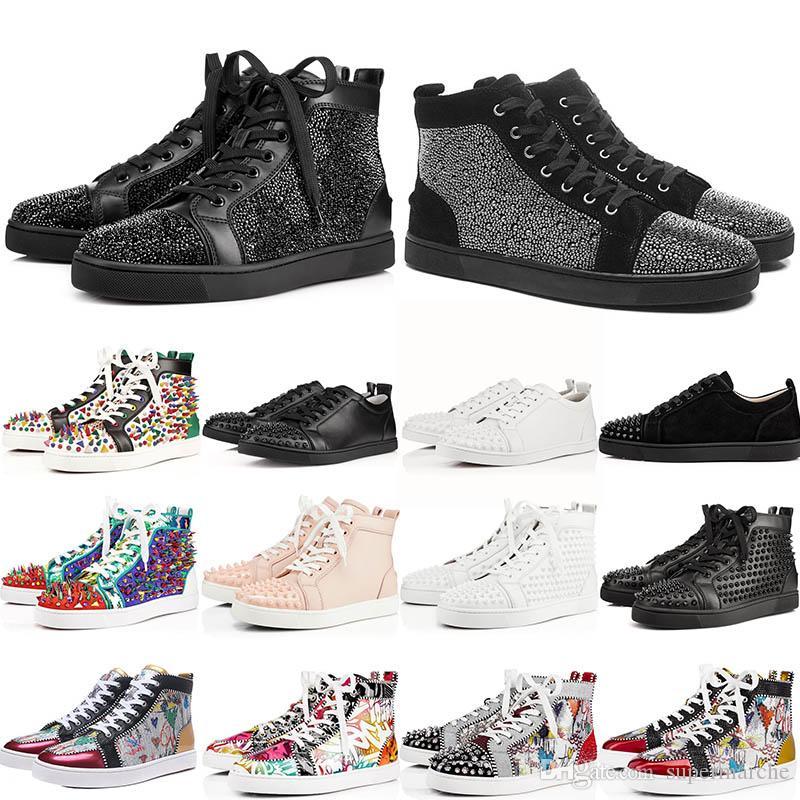 Moda lüks kırmızı dipleri düz ayakkabılar parti severler koşu ayakkabıları çivili ani spor eğitmeni hakiki deri kadınları sneaker mens size36-46