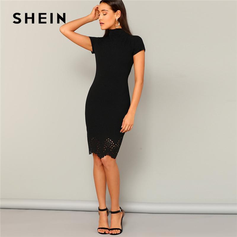 Шеина Black Laser Cut гребешка High Neck Летние платья карандаш Женщины Управление леди с коротким рукавом Твердые Bodycon сексуальные Классные платья