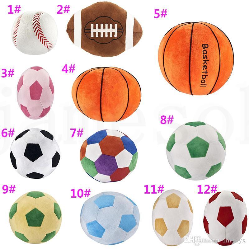 Imitação futebol basquete beisebol Toy Crianças Criativas esfera brinquedos dos desenhos animados travesseiro esférica Bebê Plush Dolls Para Boy novidade presente DA141