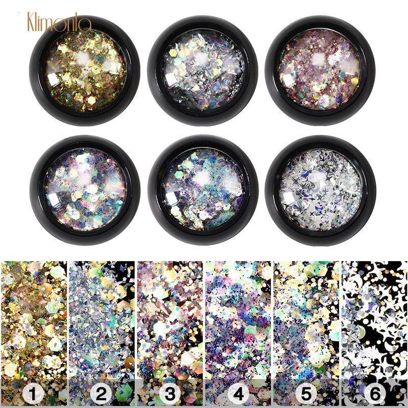 6 Bottiglie Laser Glitter Nail Paillettes Hexagon Star Nail Decor Flakes Gel Polish FAI DA TE Fiocco Manicure Decorazione Strumenti di bellezza