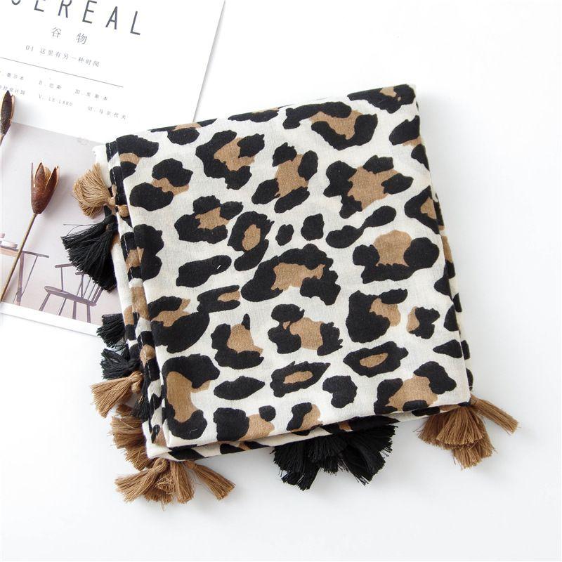 2020 Fashion Women Leopard Print Scarf 180*90cm Leopard Stole Thin Cotton Warm Large Shawls and wraps foulard