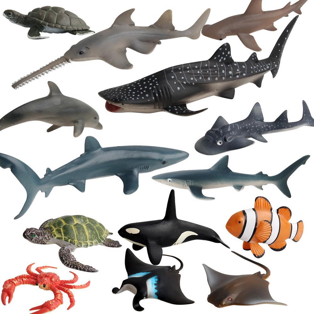 14 pçs / lote organismos marinhos modelo brinquedos ciência e educação simulação peixe animais marinhos modelos