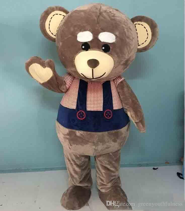 High quality hot big head big belly brown teddy bear mascot costume for adult to wear