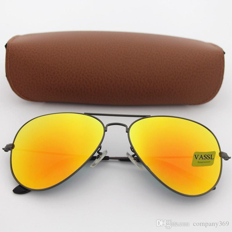 5шт летняя женщина мода пилот солнцезащитные очки человек спортивные солнцезащитные очки вождение солнцезащитные очки Vassl серая рамка оранжевый 100% УФ-защита 62 мм объектив