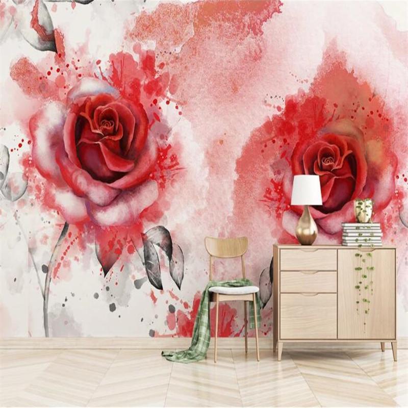 3D personalizzato carta da parati murale moderna astratta mano acquerello rosa dipinta senza soluzione di continuità a mosaico pittura parete di fondo